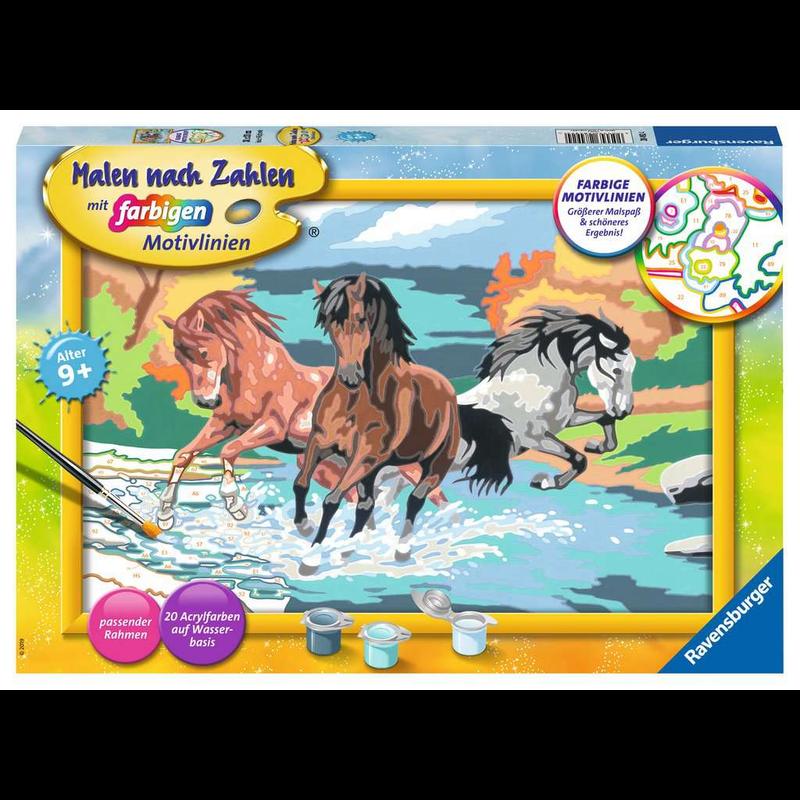 ausmalbilder pferde im wasser